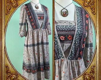 80s floral double-layered boho dress.