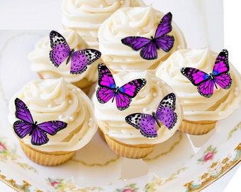 Edible Butterflies, Edible Butterfly Purple,Small Wafer Cake Decorations, 20 cupcake toppers,cookie toppers,birthday,cake decoration,party