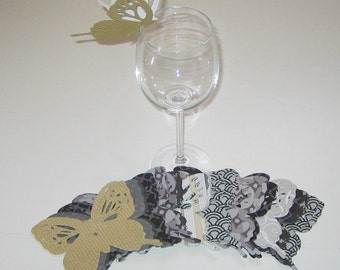 Wine Glass Butterfly Place Card Gray Tan Patterned Wedding Shower Anniversary Birthday  (48)