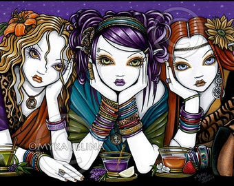 Bohemian Fairy Tea Party 12x16 inch Embellished CANVAS Myka Jelina Art T43