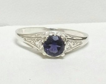 AAA Blue Iolite Ring , Filigree Antique Style Ring , Size 7 Ring , Blue Gemstone Ring, Sterling Silver Ring by Maggie McMane Designs