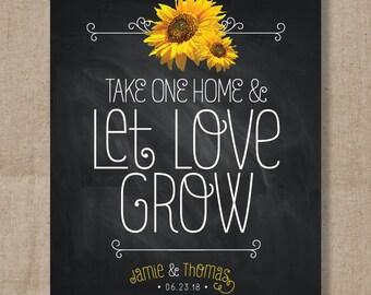 Sunflower Chalkboard Wedding Favor Sign - Let Love Grow Favor Sign - Wedding Favor Print -  Plant Sign - Favor Table sign - Seed Packet