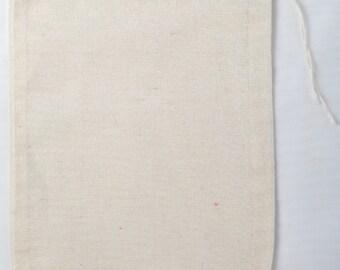 50 5x7 Cotton Muslin Natural Drawstring Bags