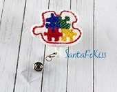 Autism Awareness Badge Holder with Retractable Badge Reel. A Designer Badge Reel for yourself or for your favorite teacher, coworker