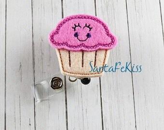 Cupcake ID Badge - Embroidered Felt Badge Reel - Retractable ID Badge Holder - Badge Reel Clip - Medical Badge