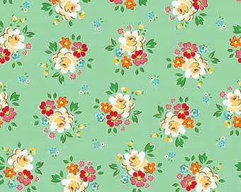 Mint Green Spring Blossoms Fabric BACKYARD ROSES by Riley Blake Designs