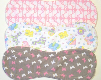 Quilted Contoured Baby Burp Cloths ~ Set of 3 ~Triple Layer ~ Flannel & Fleece ~ Baby Girl ~ Set #BC/20A