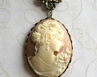 Long cameo necklace, lady, vintage style pendant, brass chain, Victorian style