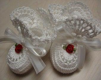 Christening Baby Shoes, Newborn Baby Girl Booties, Red Rose, Crochet Christening Booties, White Newborn Baby Girl or Reborn Doll