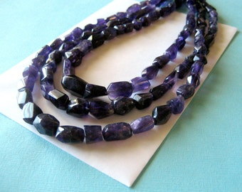 Three Strand Amethyst Nugget and Sterling Silver Necklace 20 Inches