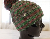 Wool Adult Hand-knit Hat  made with Hand-spun and Giant Pom-Pom
