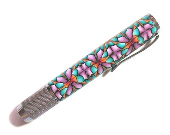 Chalk Holder intricate millefiori polymer clay design chrome accents chalker CH52