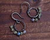 Oxidized Sterling Silver Prehnite Earrings - Rustic Hoop Earrings -Labradorite Earringa - Moonstone Earringa - Mixed Stone Cluster Earrings