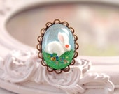 White bunny rabbit in resin  ring kawaii Lolita oval Alice in Wonderland