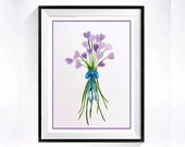 Valentines Day Watercolor Floral Heart PRINT / Romance Love / watercolor painting lavender heart flowers heart art / watercolour
