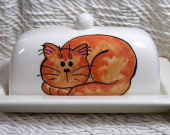 1 In Stock Ready To Ship Orange Tabby Cat On Ceramic Butter Dish Handpainted Original by Grace M Smith