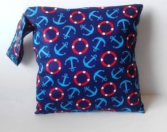 Wet Bag -Sport Bag - Cloth diaper bag, Wet Bag for cloth diapers - Swim Bag- Nautical Anchors