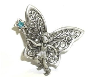 JJ Elf Fairy Mythical J.J. Jonette brooch pewter vintage NOS
