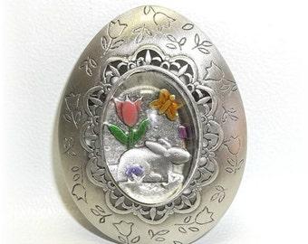 JJ Easter Egg pewter pin brooch J.J nos