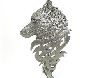 Tribal Wolf Head pin brooch JJ Jonette Jewelry  NOS