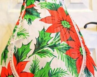 Vintage Poinsettia Half Apron For Women Christmas Apron Retro Apron Hostess Apron