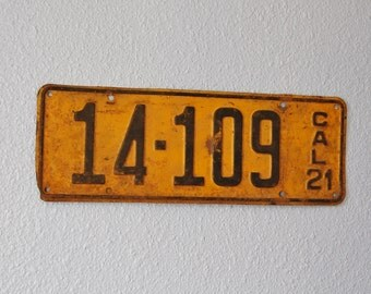 Vintage 1921 California License Plate 14-109 CAL 21 Old Car Black on Yellow Steel