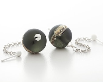 grey earrings, handmade lampwork glass, sterling silver, dangle style, artisan jewelry