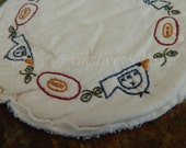 Birds and Blooms Candle Mat, Hand Stitched, Summer, Flowers