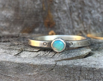 Opal Circle Stacking Ring Birthstone Band
