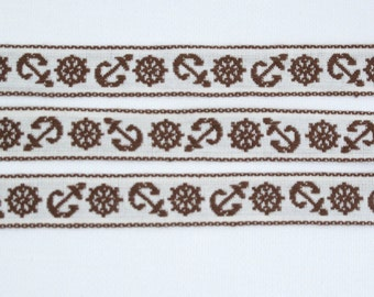 "Nautical Sailing Jacquard Ribbon Vintage Sewing Trim,  Tyrolean Trim 5/8"" wide - 3 yards - Anchor, Naval, Captain's Wheel, Ship Wheel, Boat"