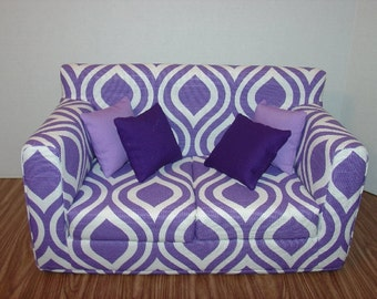 18 Inch Purple, White, Thistle - Sofa - Modern Handmade Doll Furniture