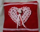 Valentine Pillow, Red Pink Sweetheart Love Felt Crochet Heart Pink Roses Red Pink Ribbon Trimmed in White Pink Hearts Ribbon