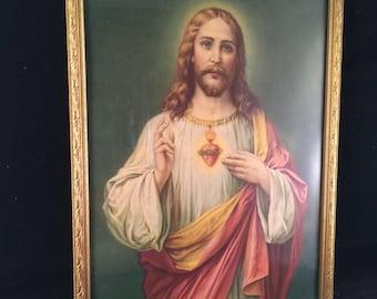 1950s Era Framed Jesus Picture Print