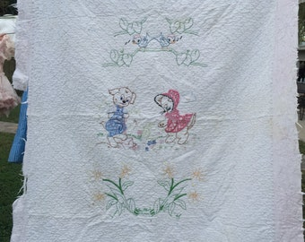 Vintage Hand Embroidery and Quilted Cutter Baby Quilt