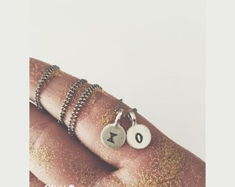 XO - Two Tiny Discs  - Sterling Silver Stamped With Your Initial or your name in Hebrew or English - simag