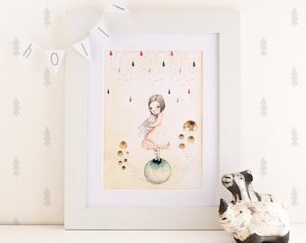 Sofi and the Owl - Print - 4x6 - Nursery art - Nursery decor - Kids decor - Children's art - Children's wall art - kids wall art