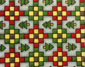 "Debbie Mumm ""Mumms The Word"" Christmas Tree Check Fabric"