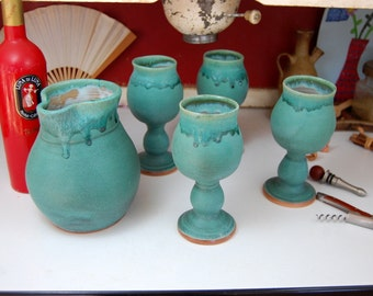 Set of Four Wine Goblets and Carafe in Turquoise - Made to Order