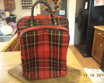 Vintage red plaid thermos brand picnic basket large lunch box
