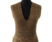 BRAID- hand knitting - Vest tank sweater - in nuanced brown