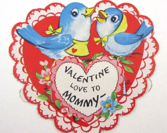 Vintage Unused Children's Novelty Valentine Greeting Card with Cute Blue Birds in Heart
