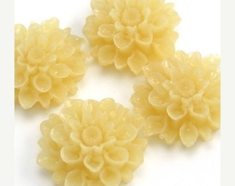 50% Off Sale Dahlia Flower Plastic Cabochons - Transparent Beige - 18mm (4) PC076