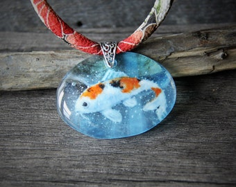 Beautiful Koi fish in the water- fused glass pendant