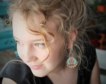 La boheme - beautiful leather collection gypsy earrings - by Fanny Dallaire -  leather work