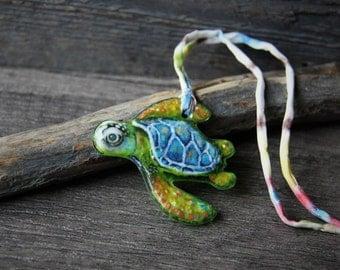 Sea turtle - fused glass pendant - unique art - glass cabochon