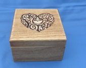 Keepsake or Trinket Box - Heart Design - Woodburned, Pyrography