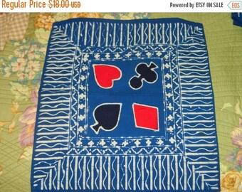 HUGE SALE 1970's Indonesian Batik Napkin, Card Game Napkins, Bridge, Bobo, Bohemian, Hears, Diamonds, Spades, Clover, Bridge Napkins, Cards
