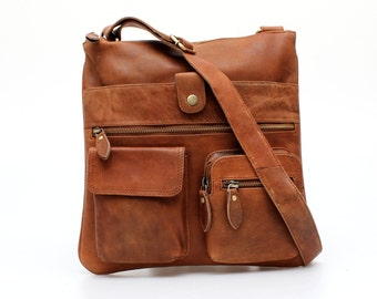 Tan Leather Organiser Cross Body Messenger Purse Bag