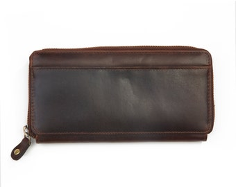 Ladies Leather Ziparound Wallet, Leather Purse,  Antique Brown