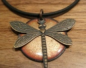 SALE Golden Dragonfly Enamel Necklace, Handmade Dragonfly Jewelry, Copper Enamel